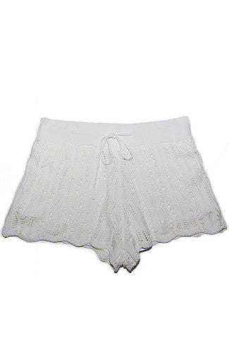 MINKPINK White Noise Knitted Shorts -Shot 2