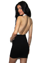 "alt=""MINKPINK-House-of-Cards-Halter-Dress-in-black-and-white-back"""