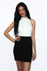 "alt=""MINKPINK-House-of-Cards-Halter-Dress-in-black-and-white-front"""