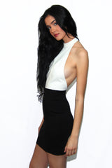 "alt=""MINKPINK-House-of-Cards-Halter-Dress-in-black-and-white-side"""