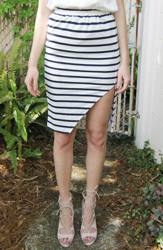 MINKPINK Stripe Midi Split Skirt in Navy/White -Shot 2