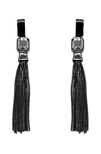 Metal Tassel Gem Earrings -Shot 2