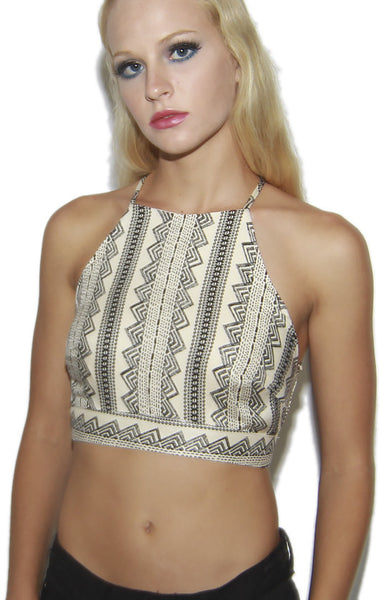 Mez Aztec Print Halter Crop Top in Cream