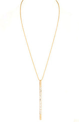 Pavestone Bar Pendant Necklace in Gold