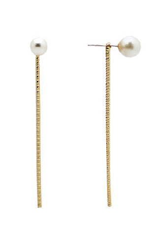 Pearl Drop Bar Earrings in Gold -Shot 2