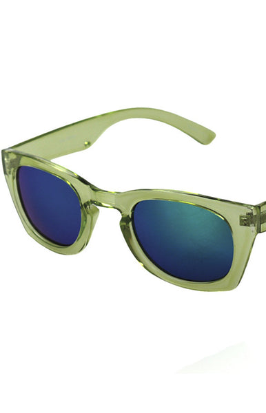 Poolside Green and Blue Mirrored Sunglasses in Green