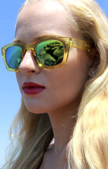 Poolside Green and Yellow Mirrored Sunglasses in Yellow