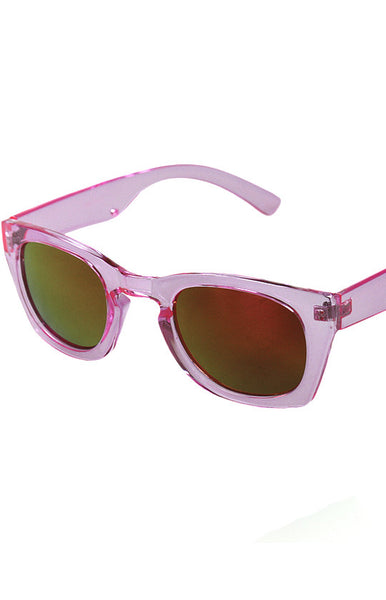 Poolside Yellow and Orange Mirrored Sunglasses in Pink