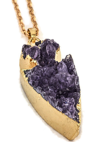 Purple Druzy Stone Arrow Pendant Necklace in Gold