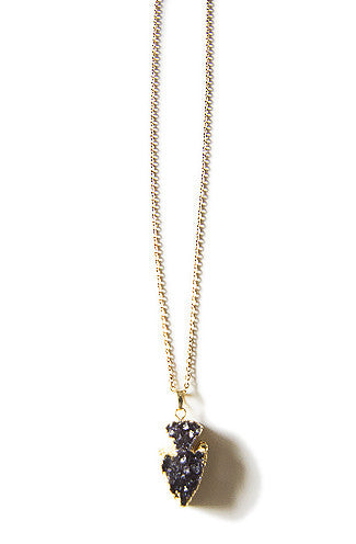 Purple Druzy Stone Arrow Pendant Necklace -Shot 2