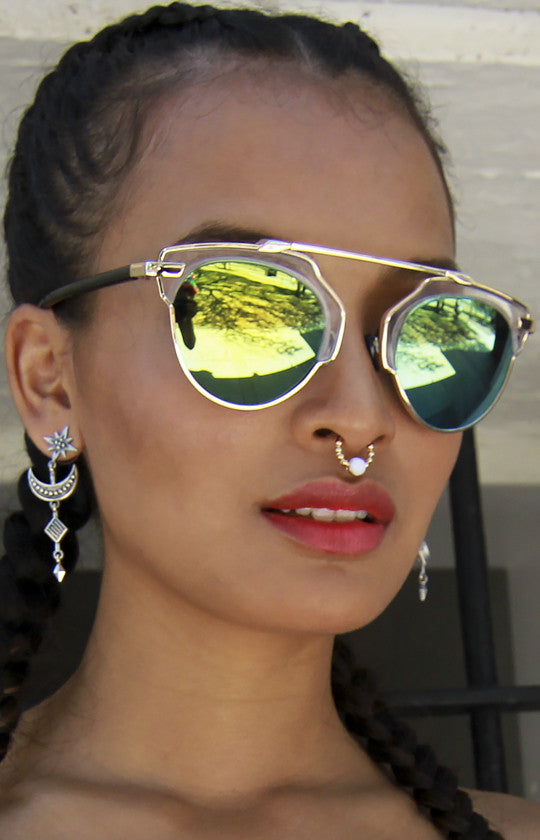 cost charm online store the latest Retro Hipster Metal Crossbar Clear Top Yellow and Green Mirrored Sunglasses