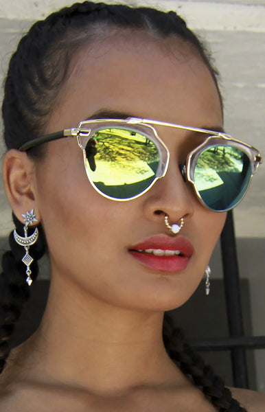 Retro Hipster Metal Crossbar Clear Top Yellow and Green Mirrored Sunglasses
