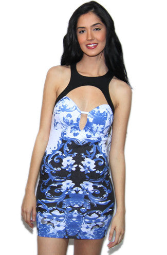 Reverse Blue Haze Cut Out Bodycon Dress