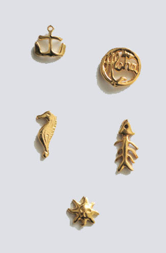 Set of Five Sailors Gold Nail Charms