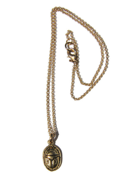 Eye of Ja Gold Scarab Charm Necklace -Shot 2