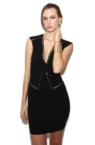 "alt=""Stewardess-Dress-in-Black-and-Gold-front"""