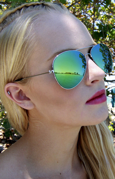 Top Gun Green Mirrored Aviator Sunglasses in Silver
