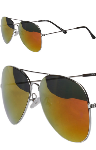 Top Gun Orange Mirrored Aviator Sunglasses in Silver -Shot 2
