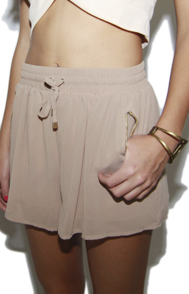 Baddie Gyrl Chiffon Drawstring Pocket Shorts in Taupe