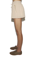 "alt=""baddie-gyrl-chiffon-drawstring-pocket-shorts-in-taupe-side"""