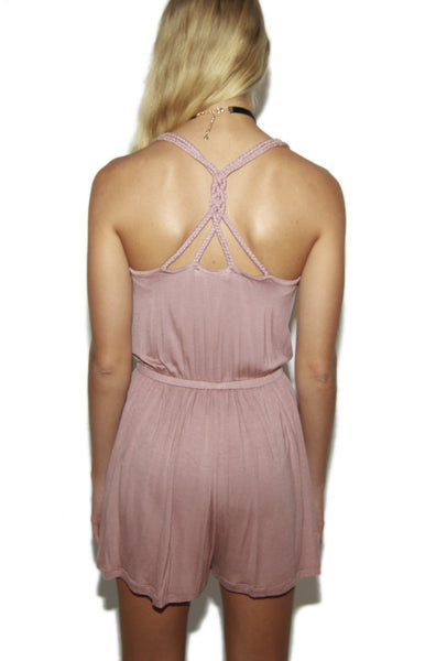 Braided Strap Romper in Dusty Rose -Shot 2
