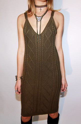 Cable Knit Sleeveless Sweater Dress in Olive -Shot 2