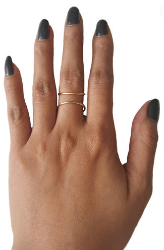 Delicate Open Wire Ring in Gold -Shot 2