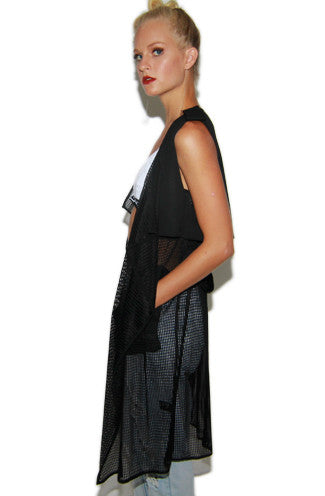 Dip it Low Netted Long Vest in Black -Shot 2