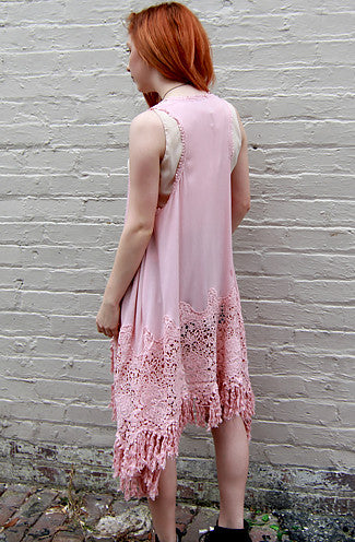 Dusty Rose Long Crochet Vest -Shot 2
