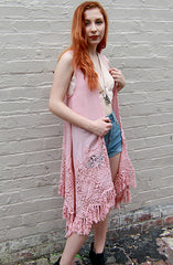 Dusty Rose Long Crochet Vest