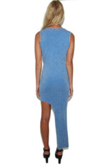 "alt=""faux-denim-printed-asymmetrical-bodycon-dress-back"""