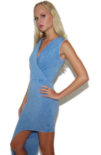 Chillax Faux Denim Printed Asymmetrical Bodycon Dress -Shot 2