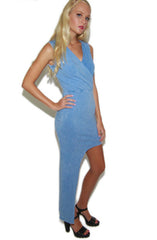 "alt=""faux-denim-printed-asymmetrical-bodycon-dress-side"""
