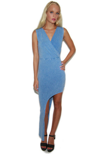 Chillax Faux Denim Printed Asymmetrical Bodycon Dress