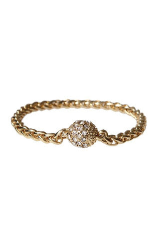 Gold Chain Pave Ball Bracelet in Gold -Shot 2