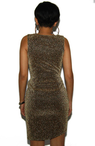 Gold Sparkly Sheath Cocktail Dress -Shot 2