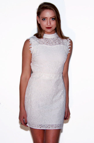 Hidden Talent Backless Floral Lace Dress in Ivory