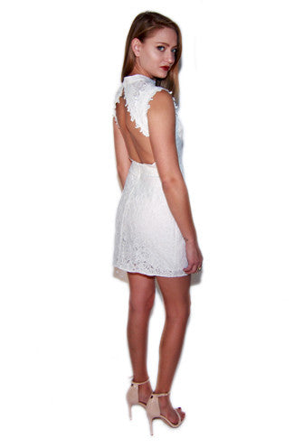 Hidden talent backless floral lace dress in ivory mightylinksfo