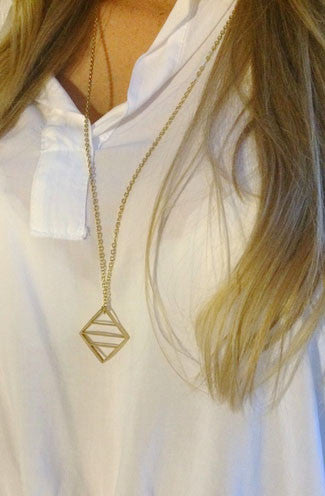 Jaeci Energy Glyph Symbol Long Necklace in Gold -Shot 2