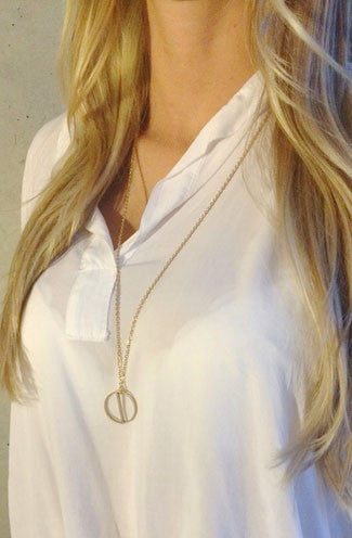 Jaeci Harmony Glyph Symbol Long Necklace in Gold -Shot 2