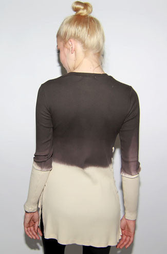 "alt=""long-sleeve-side-drawstring-brown-ombre-ribbed-sweater-back"""