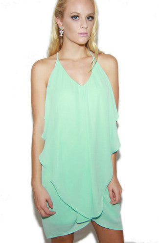 Mint Sensation Chiffon Racerback Dress