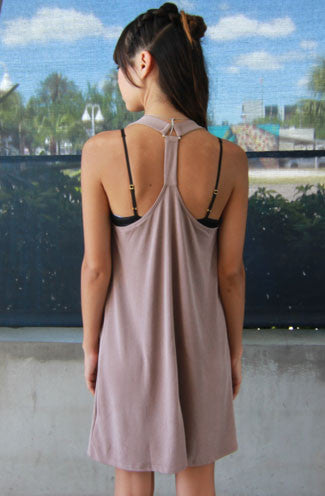My Way Racerback Shift Dress in Taupe -Shot 2