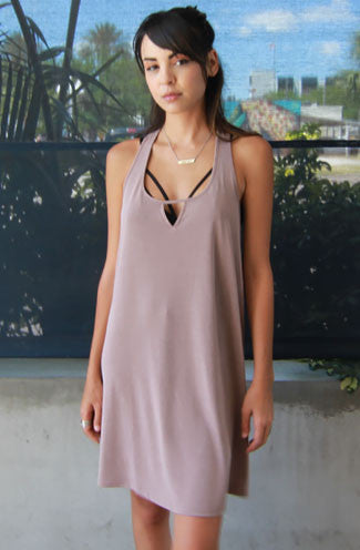 My Way Racerback Shift Dress in Taupe