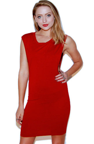 Off-The-Deep Side Cut Out Dress in Red -Shot 2