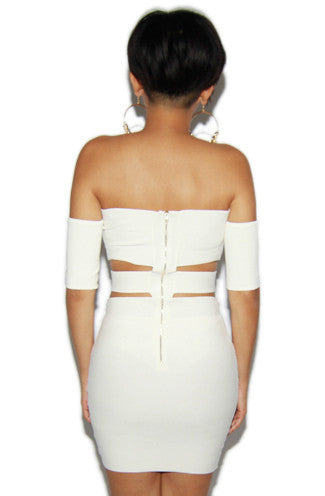 Off-The-Shoulder Cut-Out Bandage Dress in Off-White -Shot 2