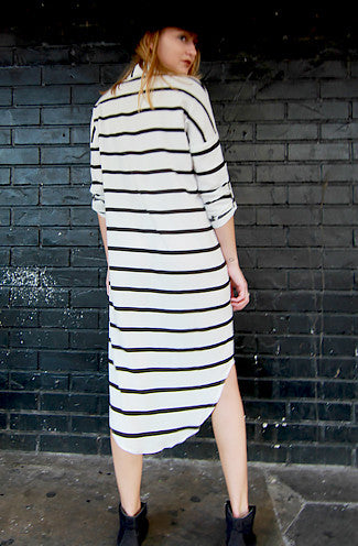 Olsen Button Up Stripe Midi Shirt Dress in White -Shot 2