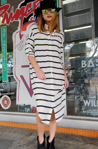 Olsen Button Up Stripe Midi Shirt Dress in White