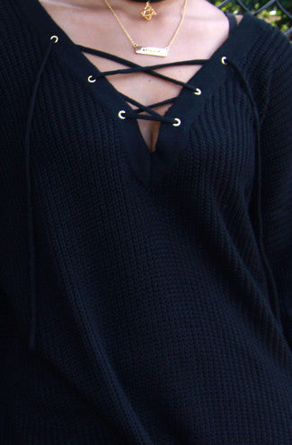 Oversize Long Sleeve Criss Cross Sweater in Black -Shot 2