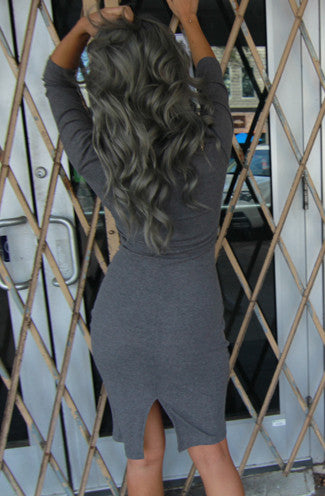 Plunge Zip Ribbed Bodycon Dress in Grey -Shot 2